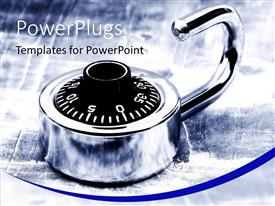 PowerPlugs: PowerPoint template with silver colored combination pad lock on the floor with rain