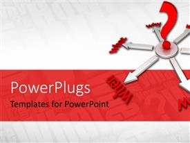 PowerPlugs: PowerPoint template with silver colored compass pointing to different text with a red question mark