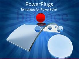 PowerPlugs: PowerPoint template with silver colored curved exclamation mark with a balance text