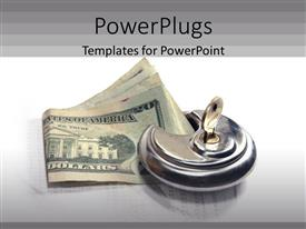 PowerPlugs: PowerPoint template with silver colored key knob holding down on dollar bills