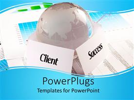 PowerPlugs: PowerPoint template with silver colored map with a success and client text on a graph