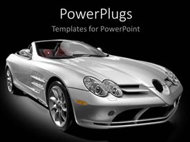 PowerPlugs: PowerPoint template with a silver colored open roof luxury car on a black background