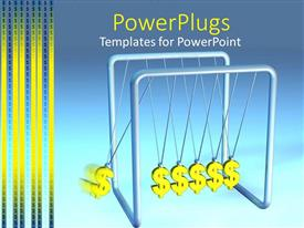 PowerPlugs: PowerPoint template with silver colored pendulum with six dollar symbols swinging on it