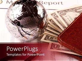 PowerPlugs: PowerPoint template with a silver colored puzzle ball with a wallet and dollar bills
