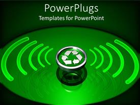 PowerPlugs: PowerPoint template with silver colored recycle symbol with green radiation around it