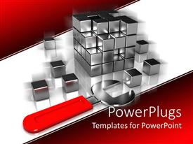 PowerPoint template displaying silver colored rubix cubed taken a