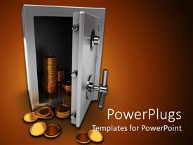 PowerPlugs: PowerPoint template with silver colored safe opened with stacks of golden coins flowing out of it