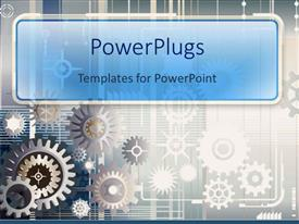 PowerPlugs: PowerPoint template with silver and copper gears on gray background
