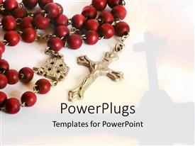 PowerPoint template displaying silver cross on red rosary beads, church steeple background, Christianity,  prayer, Catholicism