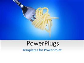 PowerPlugs: PowerPoint template with a silver fork wrapped round an Italian spaghetti dish