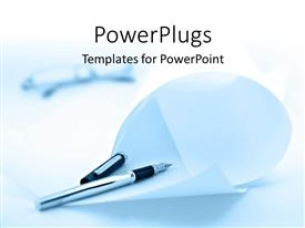PowerPlugs: PowerPoint template with silver ink pen with folded paper sheets and blurred spectacles with white color