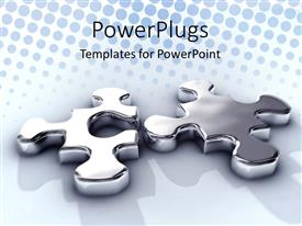 PowerPlugs: PowerPoint template with silver jigsaw puzzle pieces on blue background