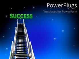 PowerPoint template displaying silver ladder leading to night sky with sparkling stars
