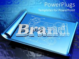 PowerPlugs: PowerPoint template with silver letters spell brand on wirefram