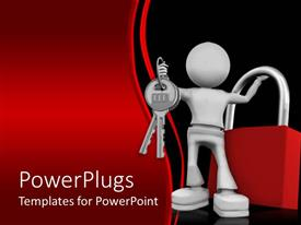 PowerPlugs: PowerPoint template with silver man holding keys and red lock with red black wave background