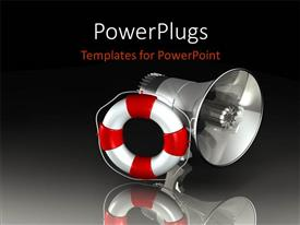 PowerPlugs: PowerPoint template with silver megaphone with red and white lifesaver over reflective background