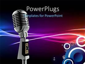 PowerPlugs: PowerPoint template with silver microphone and amplifier on colorful abstract background