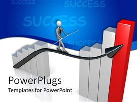 PowerPlugs: PowerPoint template with silver and red colored bar chart with a human balacing on an arrow