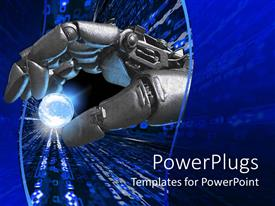 PowerPoint template displaying silver robot hand holding a glowing Earth planet representation between fingers on a dark blue background