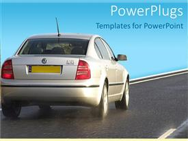PowerPlugs: PowerPoint template with silver salon car with yellow plates travelling on clean road