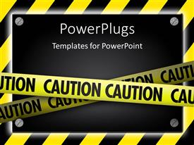 PowerPlugs: PowerPoint template with silver screws glowing over yellow striped hazard