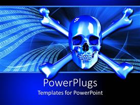 PowerPoint template displaying silver skull and crossbones on binary background