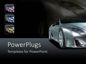 PowerPoint template displaying silver sport car on background with shades of black