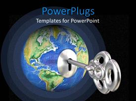PowerPlugs: PowerPoint template with silver treasure key placed in blue globe