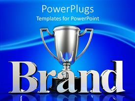 PowerPlugs: PowerPoint template with silver trophy cup for brand winner on blue background
