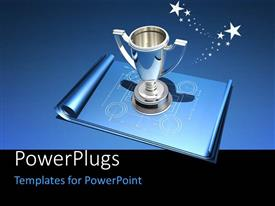 PowerPlugs: PowerPoint template with silver trophy sitting on blue building blueprint with black and blue background
