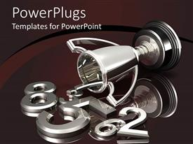 PowerPlugs: PowerPoint template with silver trophy spilling chrome numbers, mirrored brown background