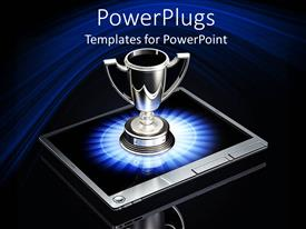 PowerPoint template displaying silver trophy on top of laptop, winning in business metaphor