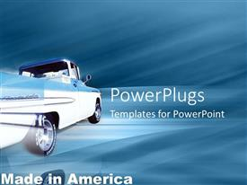 PowerPlugs: PowerPoint template with silver truck speeding past on a light blue background