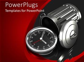 PowerPlugs: PowerPoint template with silver watch with black face in front of overturned chrome trash can