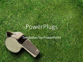 PowerPlugs: PowerPoint template with silver whistle on grass, coaching, leadership, sports, athletics