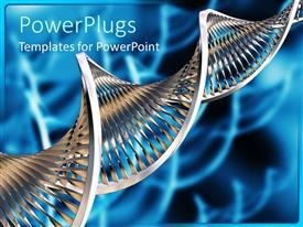PowerPlugs: PowerPoint template with silvery DNA strand on abstract blue background
