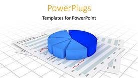 PowerPoint template displaying a pie chart with a lot of reports in the background