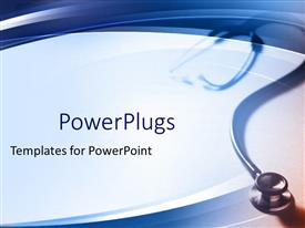 PowerPoint template displaying simple medical theme with stethoscope fading in the gradient blue background