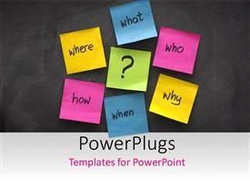 PowerPlugs: PowerPoint template with simple mind map with questions - what, when, where, why, how and who