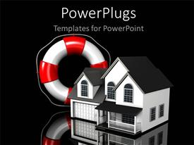 PowerPoint template displaying simple residential house with white and red lifesaver in grey background