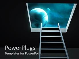 PowerPlugs: PowerPoint template with simple silver stairs going to planet in galaxy and black background