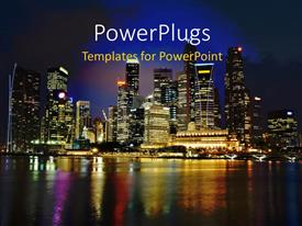PowerPoint template displaying singapore City Evening Skyline at Marina Bay