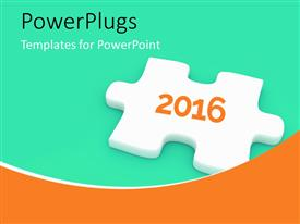 PowerPoint template displaying single 3D puzzle in white with year 2016 written on it on a green background