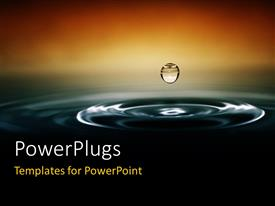 PowerPlugs: PowerPoint template with single drop of water makes contact with more water