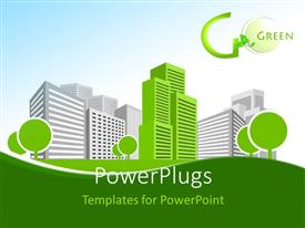 PowerPlugs: PowerPoint template with single green building shines among many grey buildings with Go Green keyword