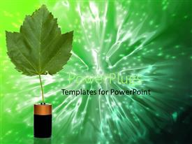 PowerPlugs: PowerPoint template with single leaf growing from D cell battery green background