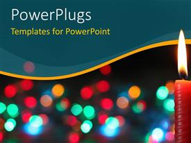 PowerPlugs: PowerPoint template with burning Christmas candle with colorful bokeh background
