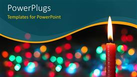 PowerPoint template displaying burning Christmas candle with colorful bokeh background