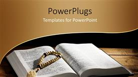 PowerPoint template displaying a hand prayer rosary on an open Holy Bible