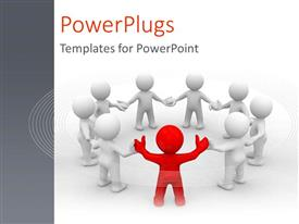 PowerPlugs: PowerPoint template with a singled out person as a metaphor for leader of the team with ideas on a white background